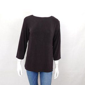 New Soft Surroundings Brown Stretch Top Shirt XSP